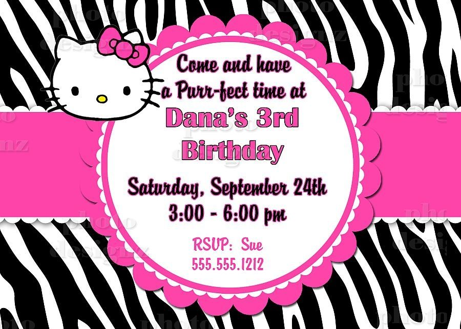 Hello Kitty Zebra Birthday Party Invitation hello kitty