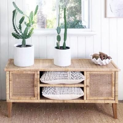 Plantation Cabinet - Add a coastal resort look with this stunning piece, which has been made with handwoven rattan. A gorgeous storage option or use as TV Entertainment Unit. 130cm L x 40cm D x 56cm H www.finditstyleithome.com.au #furniture #homeinspo #homewares #interiorinspo #beachhouse #hamptons #countrylife #homedecor #interior #interiorblogger #sale #interiors4all #interiorlovers #houseandgarden #homebeautiful