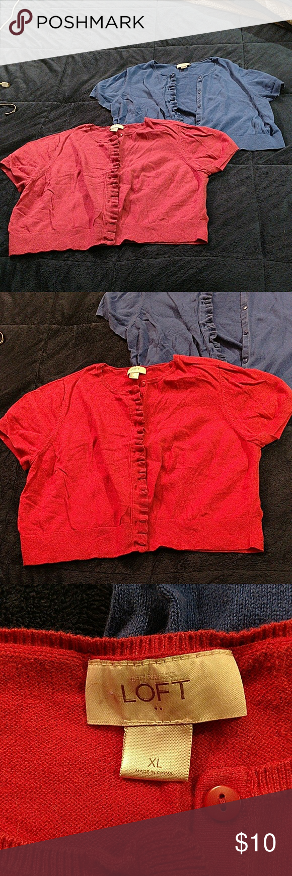 2 XL Ann Taylor Loft cropped shortsleeve cardigans Cropped short sleeve button up cardigans. One blue and one red (it is a soft red, not a bright red. Idk why it is so hard to get the color right in the pictures!) They have a ruffle detail up the side with the button holes. LOFT Tops Button Down Shirts