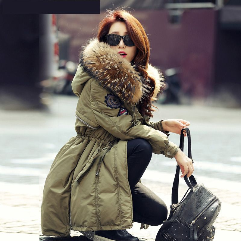 21813d231018 Click to Buy    Women Luxurious Large real Raccoon Fur Collar Hooded Coat