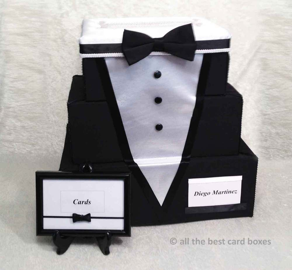 Tuxedo Wedding Card Box,black,white,bow tie,Fabric,Fairy Tale ...