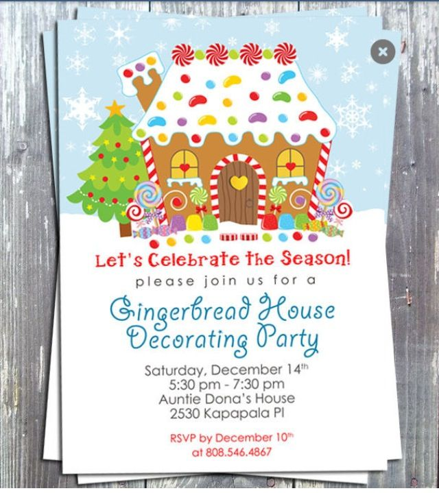 Gingerbread House Decorating Party Invite