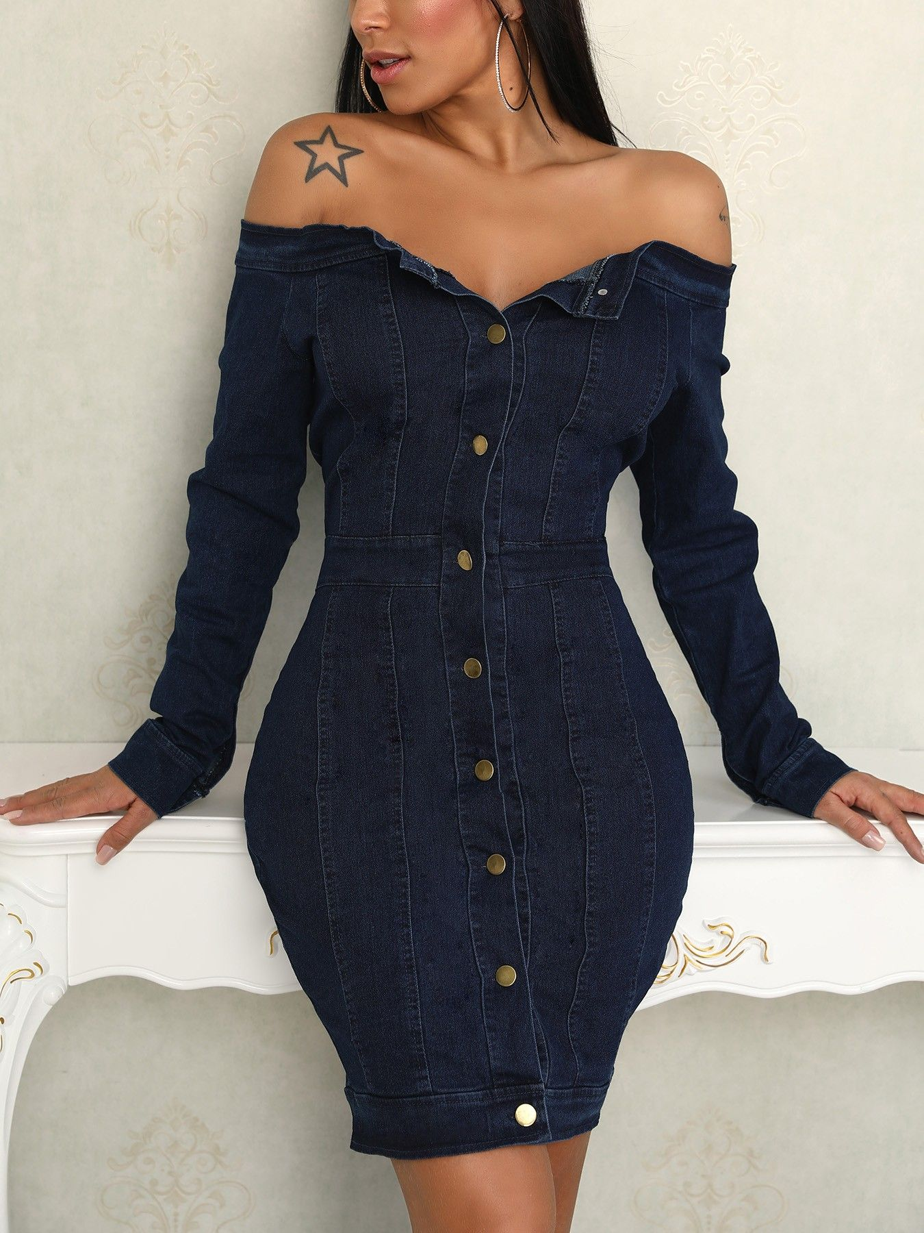 Button Up Off Shoulder Denim Bodycon Dress Bodycon Dress Shop Bodycon Dresses Fashion Dresses Online [ 1800 x 1350 Pixel ]