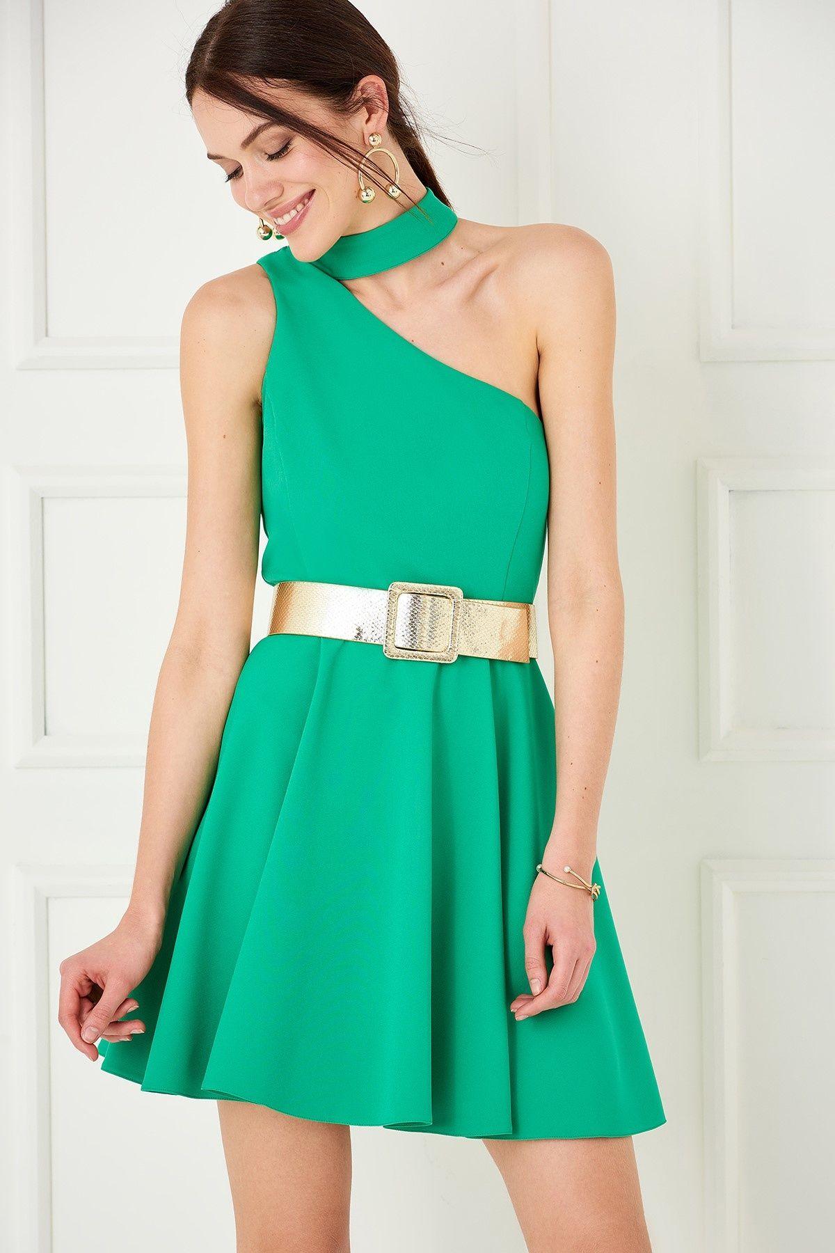 Yesil Tek Omuz Elbise Trendyolmilla Trendyol Moda Stilleri Mezuniyet Elbiseleri Elbise