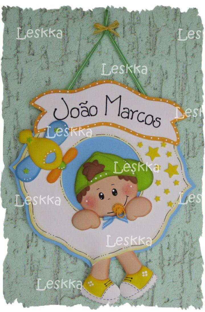 36a30b581b9 Leskka - Arte em e.v.a  Placa menininho!
