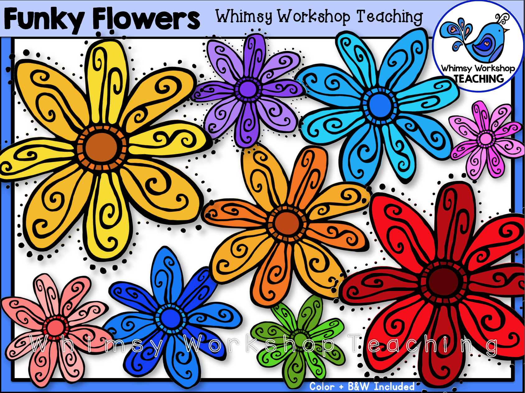 Funky Flowers Clip Art Free