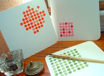 Love these cute notecards - using punched circles from paint chip cards