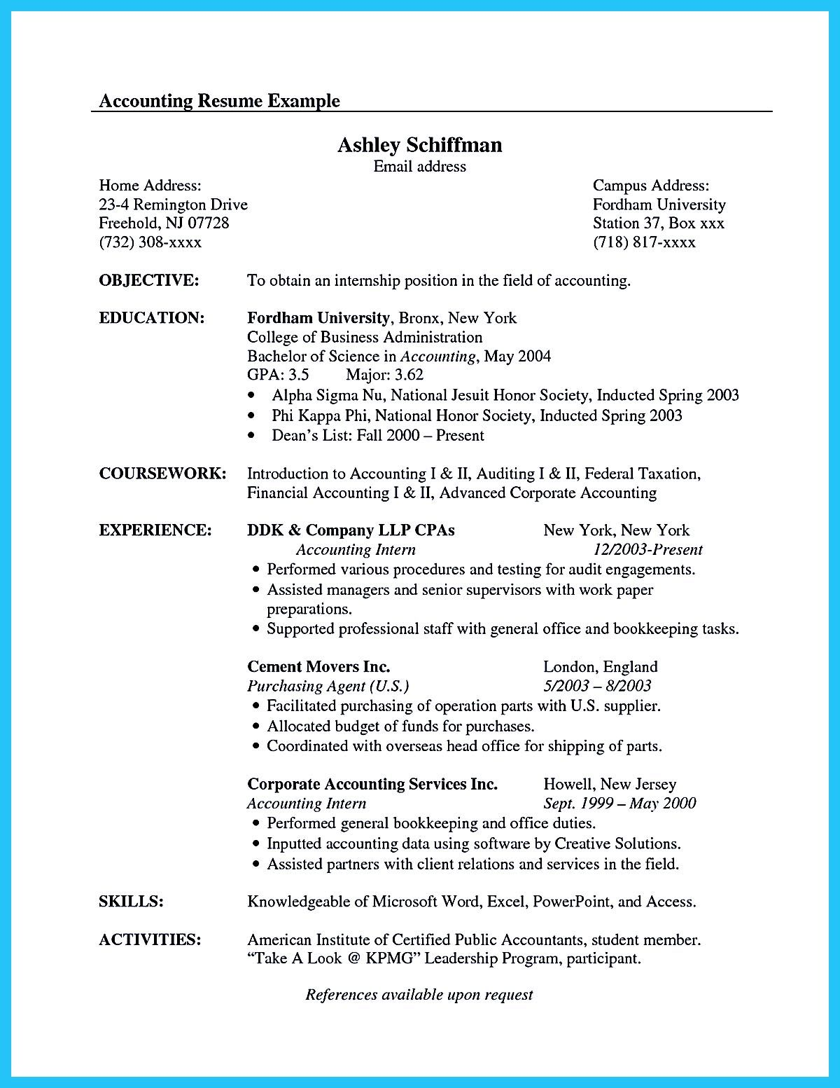 resume for accounting internship with no experience