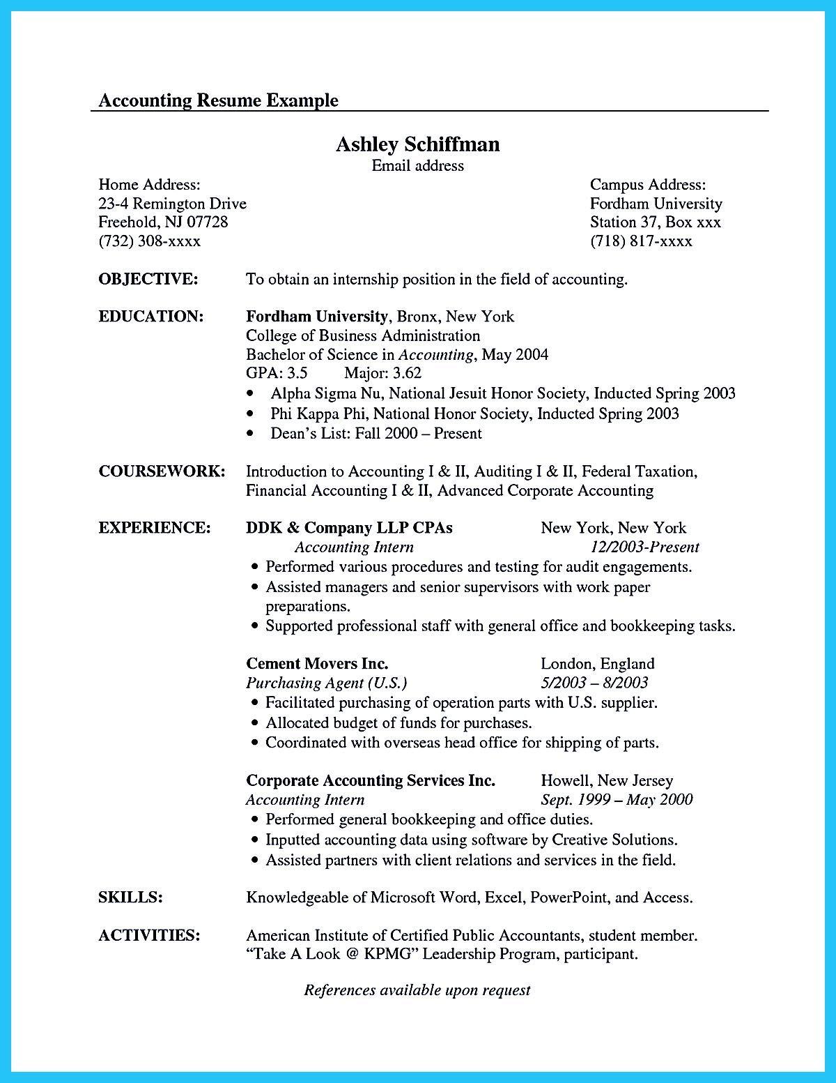 accounting graduate resume