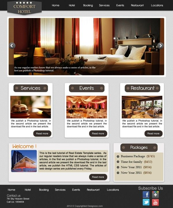 How To Create A Stylish Hotel Website Psd To Html Hotel Website Modern Website Photoshop Tutorial