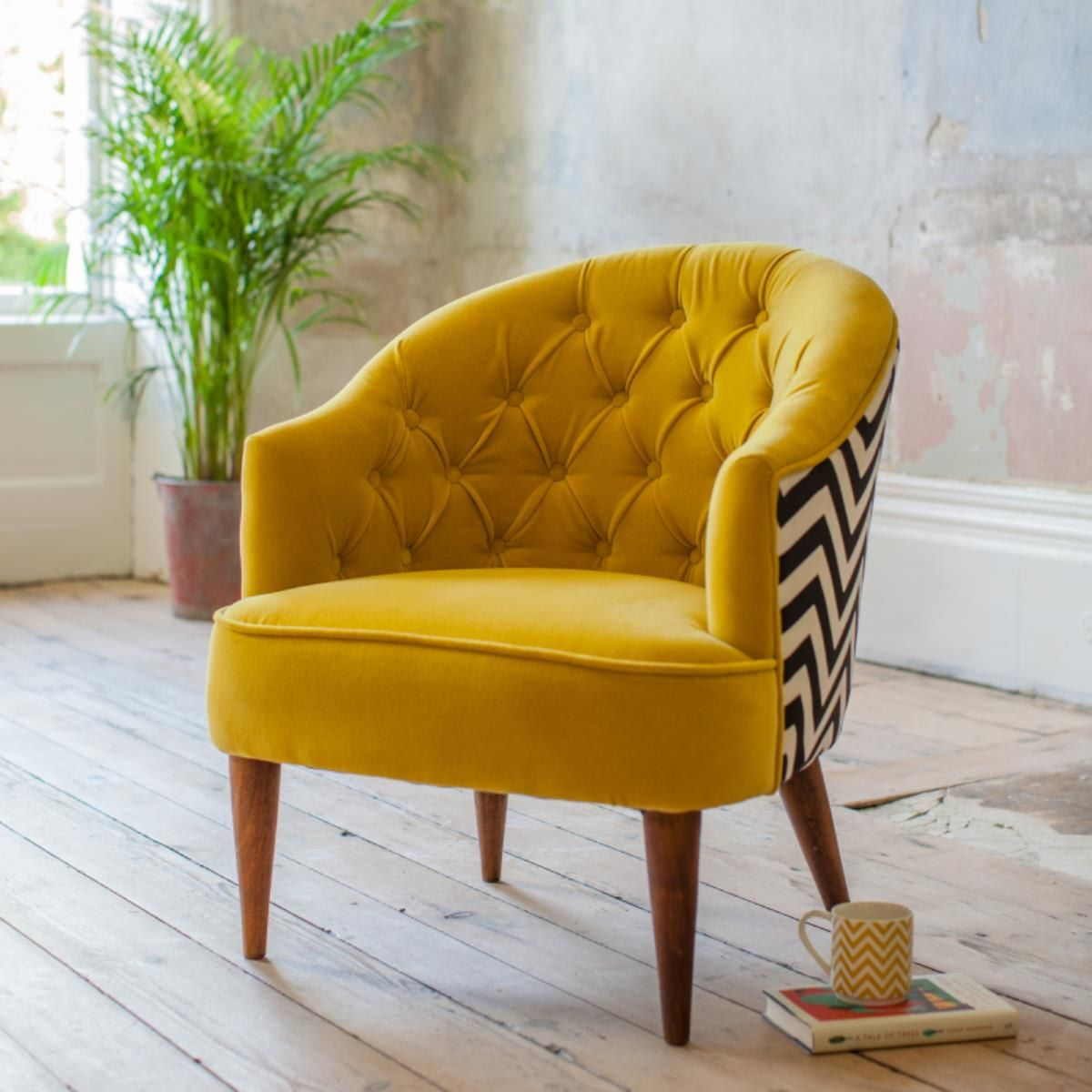 Velvet Jazz Tub Chair Mustard Upholstered chairs