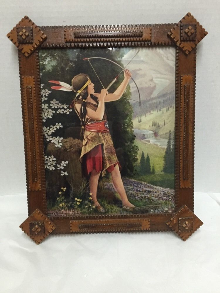 Indian Maiden Bow Arrow Valley Mountain Wood Frame 11x13 inches ...