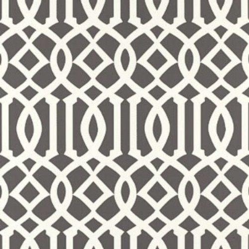 Schumacher Imperial Trellis Charcoal Wallpaper hall