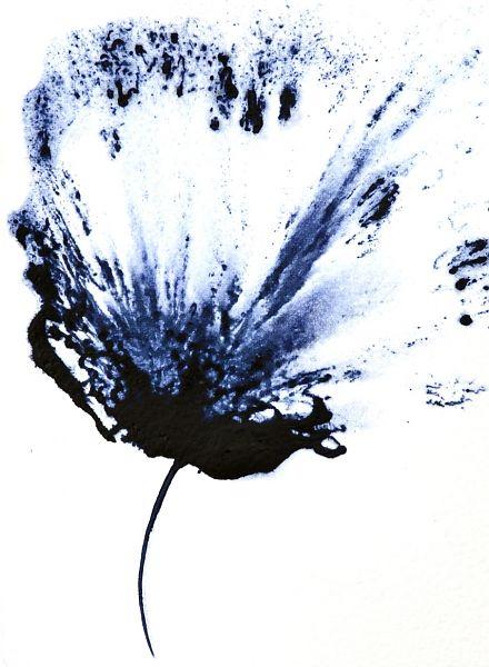 """""""Art, Modern Floral Painting, Flower Wall Art, Navy Blue ..."""
