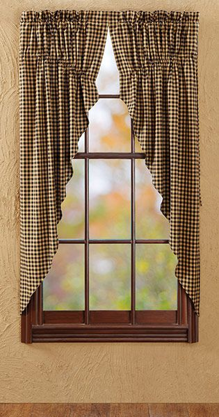 Prairie Curtain In Black Check Colonial And Primitive