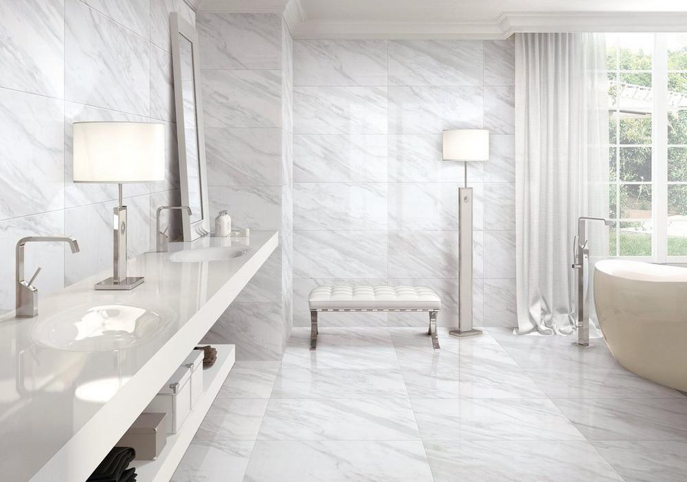 Volakas Plus Polished Porcelain Tile Porcelain Tile Tile Bathroom Marble Shower Tile