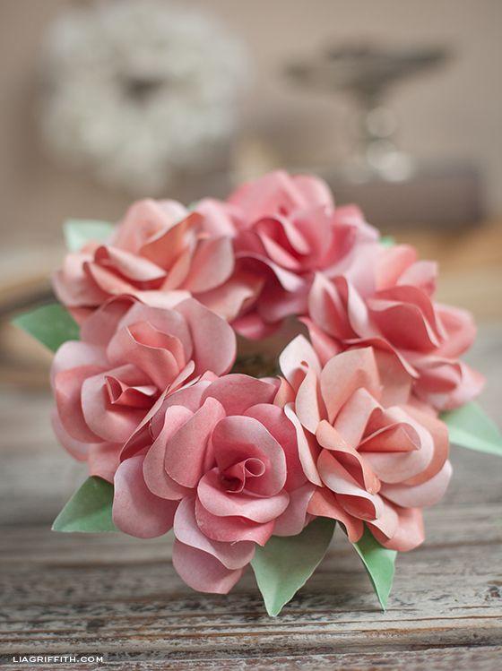 Simple Mini Paper Rose Wreath Lia Griffith Paper Roses Paper Flowers Paper Flower Tutorial