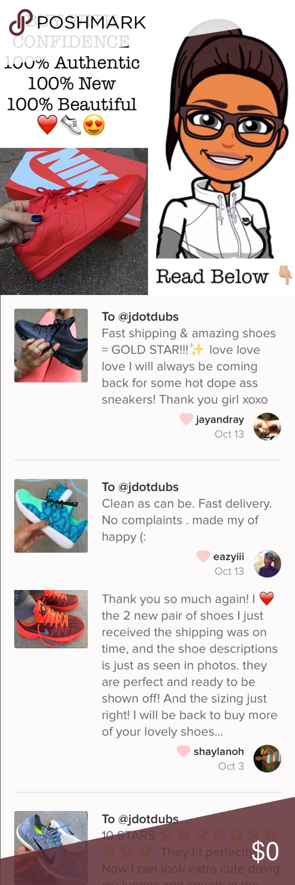 📝❤️ 100+ LOVE NOTES from HAPPY CUSTOMERS Lots and lots of happy customers! Please feel free to ask any questions. I love my customers! Let's SHOP! 🛍💕 15% off bundles! Super fast shipping and GREAT customer service. 📦 Nike Shoes Athletic Shoes