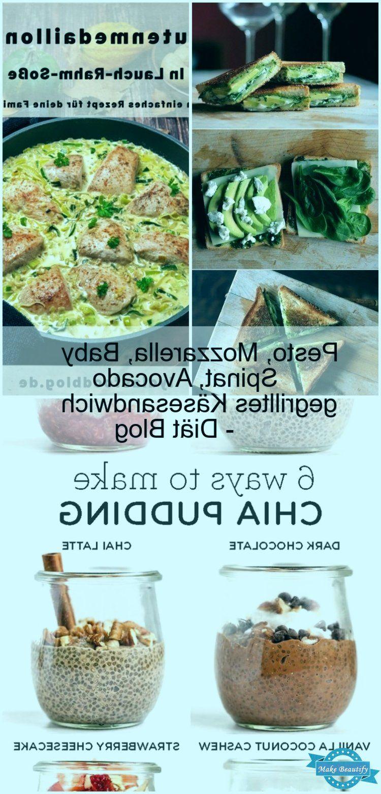 Pesto, Mozzarella, Baby Spinat, Avocado gegrilltes Käsesandwich - Diät Blog Pesto, Mozzarella, Ba