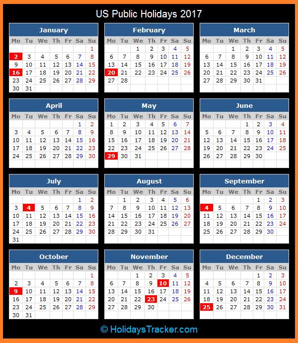 Us National Holidays 2017 Holiday Calendar Canada Holiday Calendar Printables