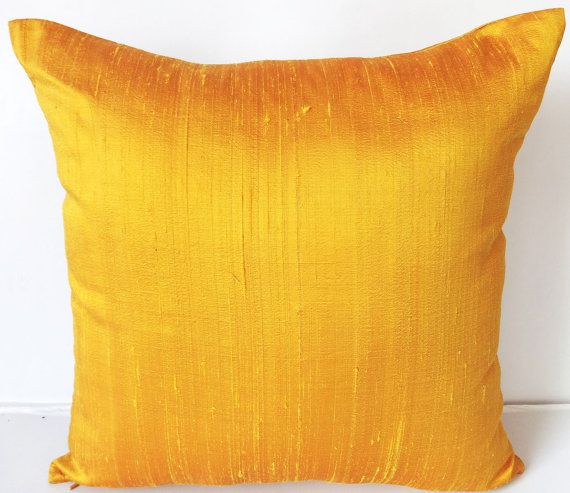Golden Yellow Dupioni Silk Throw Pillow