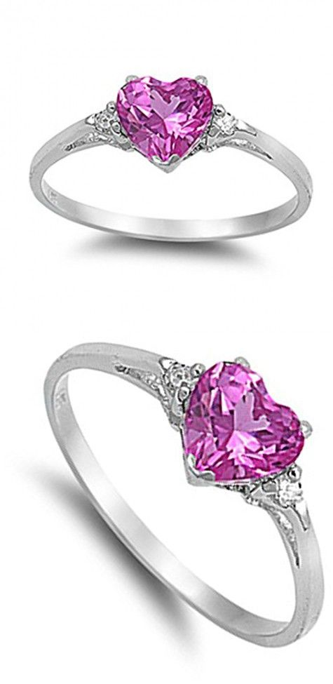 70c6c7f71c Sac Silver Sterling Silver Rose Pink Simulated CZ Heart Promise Ring, ...