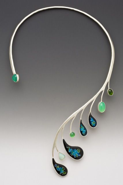 8e3f0f069b9d Peacock necklace by Lisa Hawthorne. It s gorgeous but I m not too sure how  it would sit against the neck.
