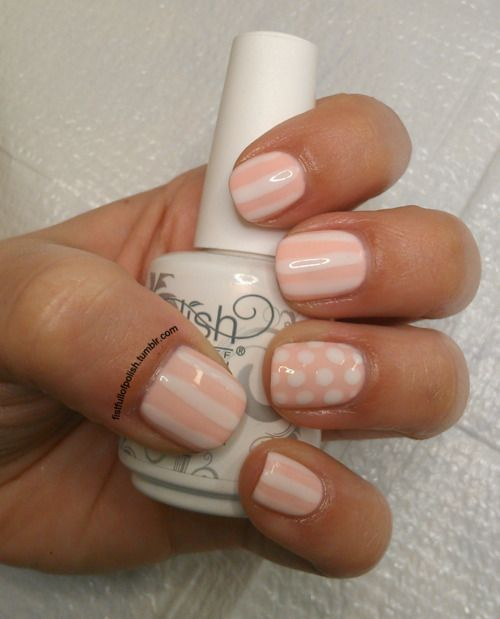 Pale Pink and White Mani
