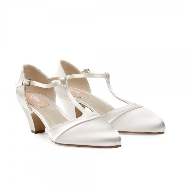 Pink Paradox Kitten Dyeable Ivory Satin T Bar Wedding Shoes