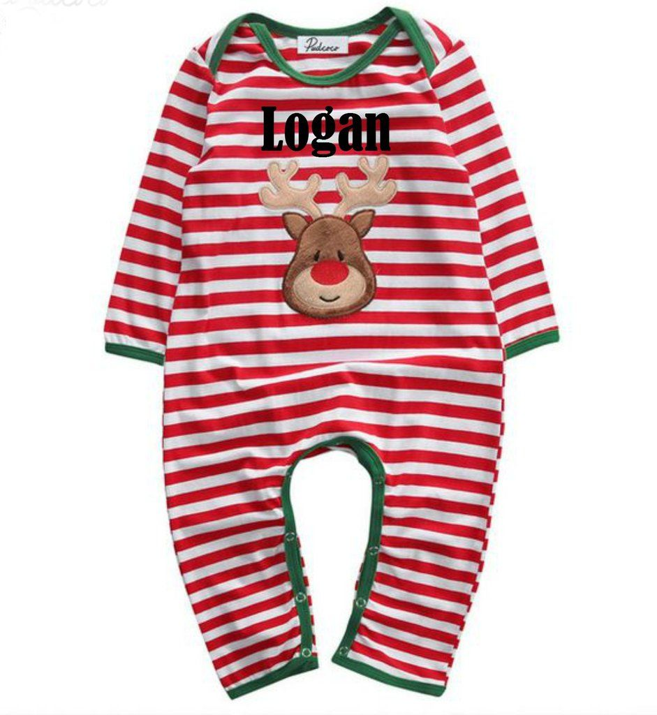 843c95190511 Infant Christmas Holiday Red Green and White Stripe Holiday Romper ...