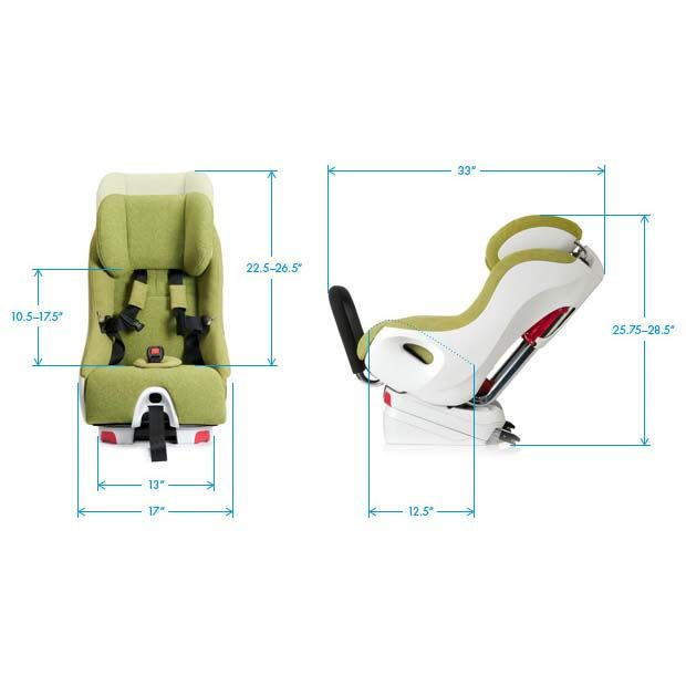 Clek Foonf Convertible Car Seat dimensions. Designed to ...