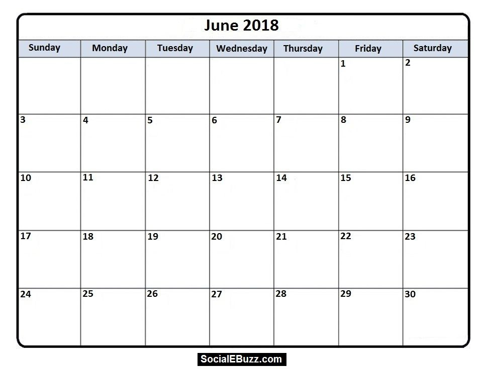 June 2018 Calendar Printable Template, June Calendar 2018, June 2018  Printable Calendar, June