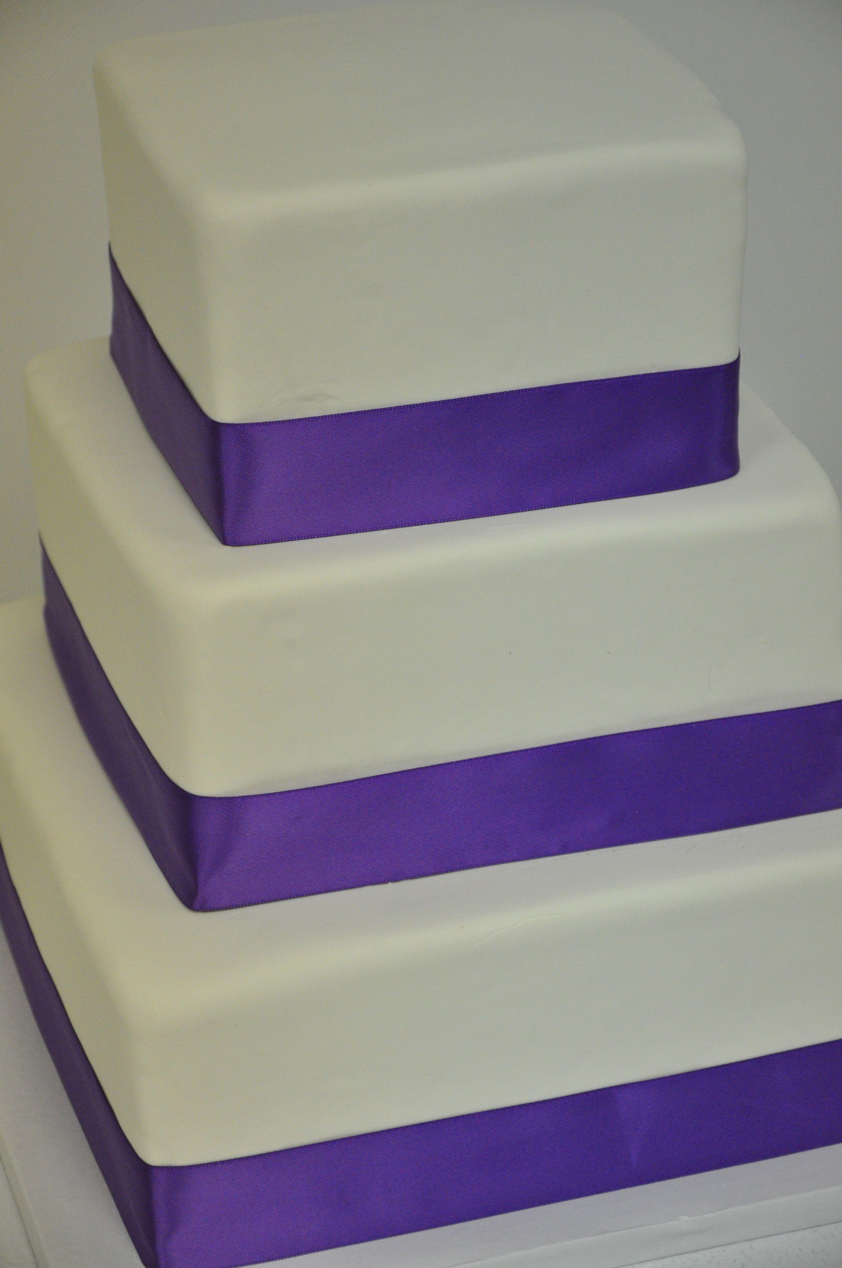 Simple Wedding Cake With Purple Ribbon Weddingcake Simple