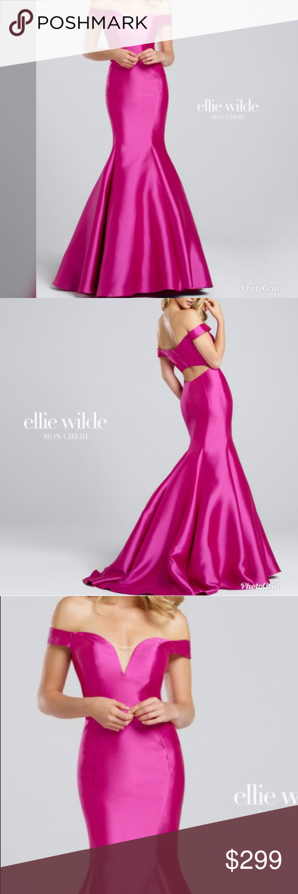 Ellie wilde ew hot pink mermaid prom dress boutique hot pink