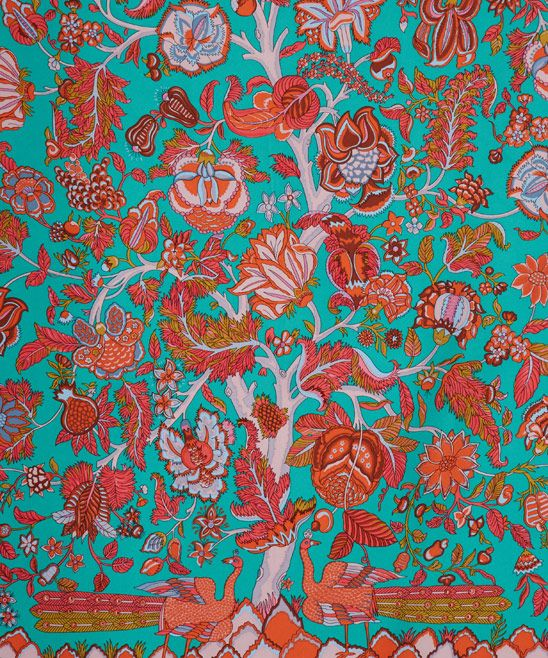 Turquoise Tree of Life Print Silk Scarf