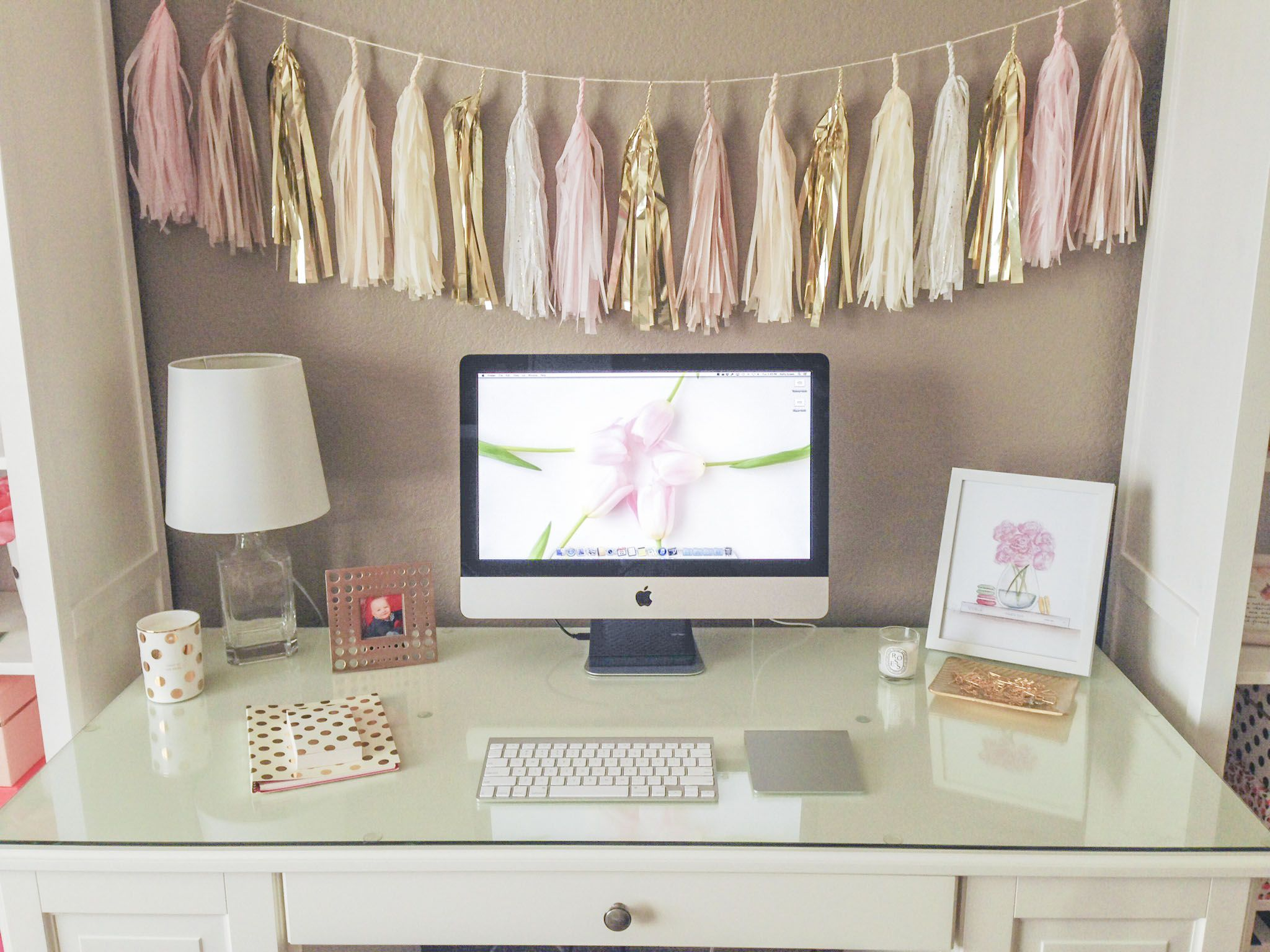 My Pretty Worke All Things Office Makeover Featuring Kate Spade Hattan Urban Supplies White Faux Taxidermy And