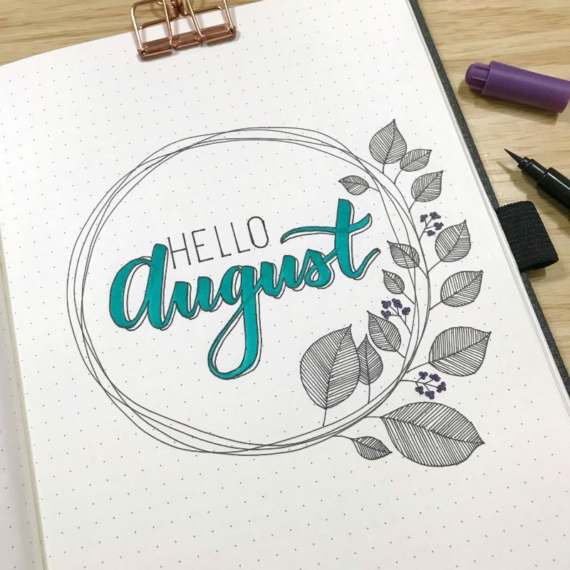 Simple Wreath Hello Page for your Bullet Journal