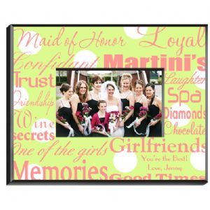 Personalized Maid of Honor Bridesmaid Picture Frame comes in traditional black and white or pretty pink and white or one of several other trendy color combinations with text that helps recall those special girls moments.  This personalized maid of honor picture frame is an ideal gift for that important member of your bridal party and a perfect place for that cherished photo of the two of you. Thank her for being part of your special day with this maid of honor frame that says it all.