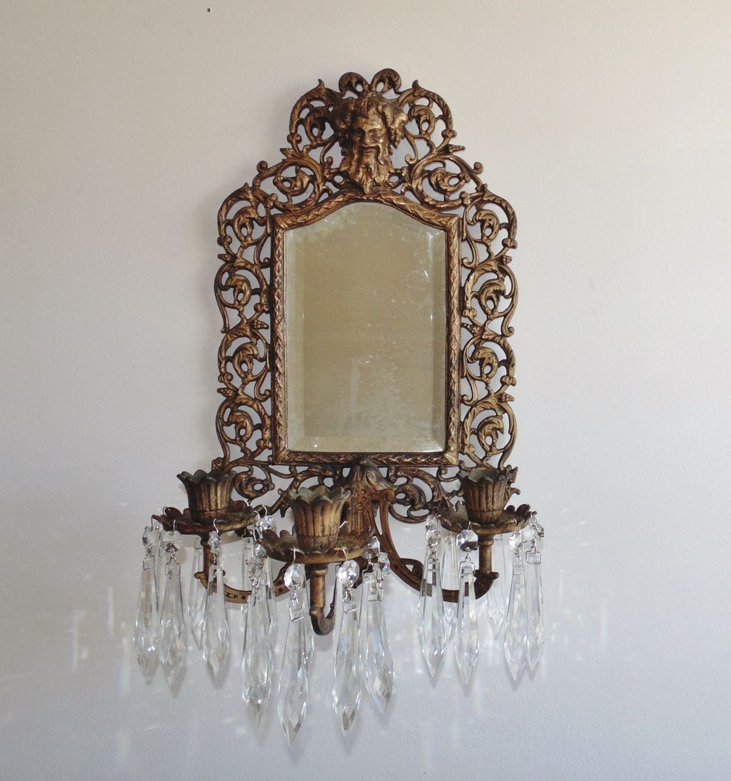 Antique 19c Victorian Bradley & Hubbard Cast Iron Mirrored Wall Sconce w/ Prisms Lusters Eastlake Aesthetic