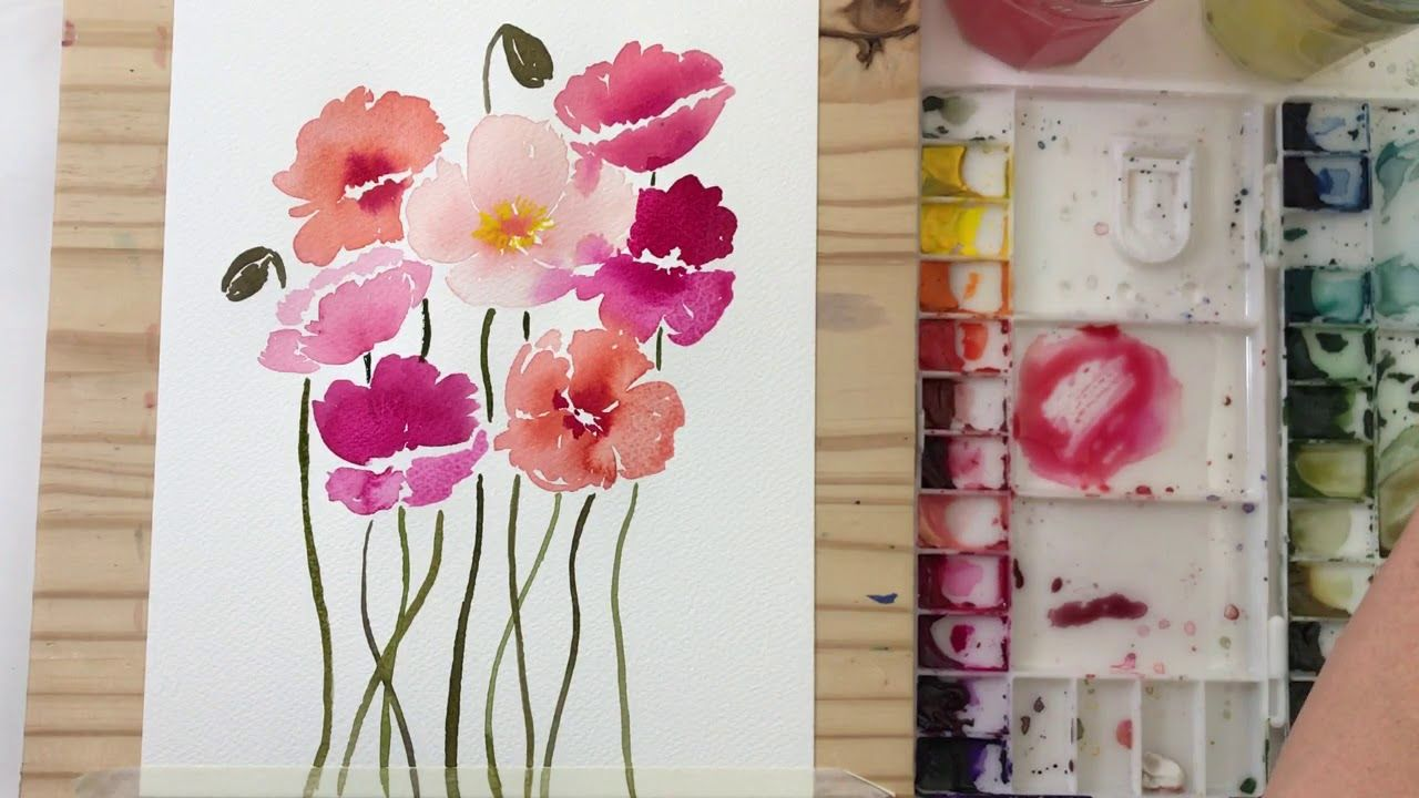 Dancing Poppies Watercolor Process Video Youtube Flower
