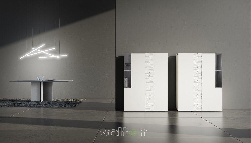 Credenze alte moderne bianche modello 55-1 (larghezza 114,5 ...