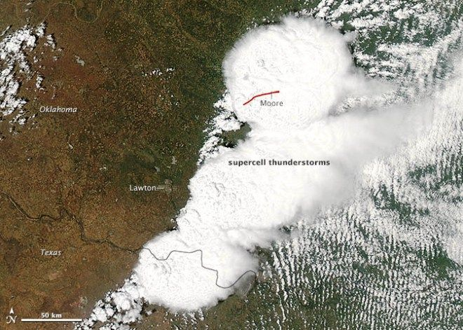 NASA satellite image of Moore tornado