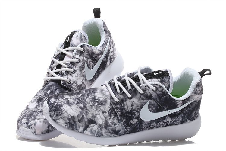 more photos 21650 b215a 49% off Custom Floral Nike Unisex Roshe Run Black and White running shoes  2015 ...