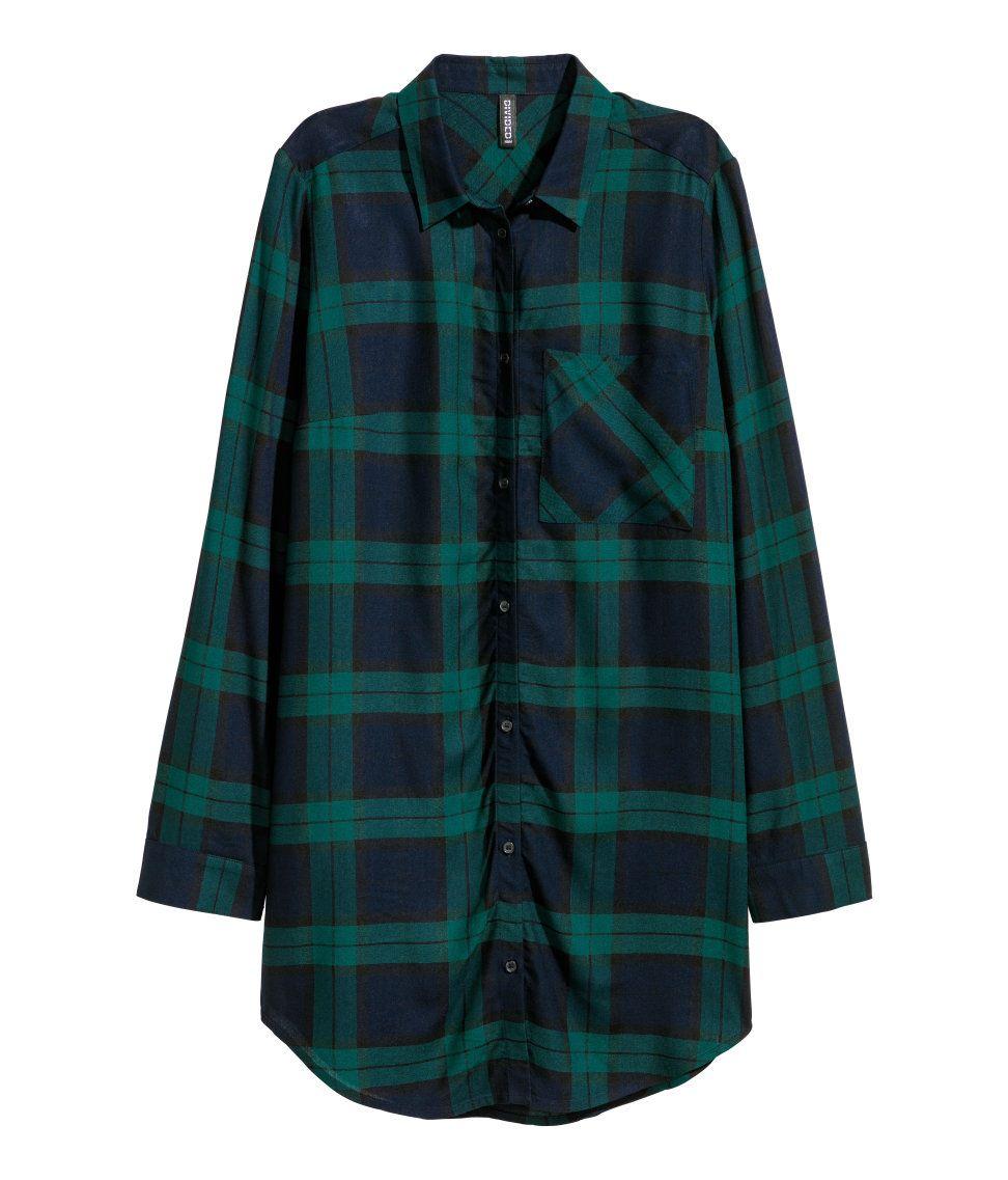 Azul De Camisa Mx Mujer Oscurocuadros amp;m Larga H Viscosa Verdes q56gwt6B