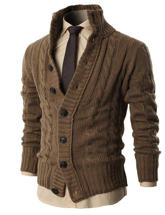 83fa87204f H2H Mens High Neck Twisted Knit Cardigan Sweater With Button Details BEIGE  US 2XL Asia 3XL (KMOCAL020)