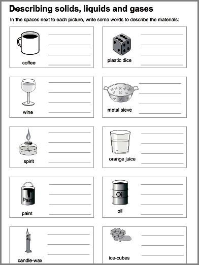 math worksheet : solids and liquids worksheets  cockpito : Solid Liquid Gas Worksheet For Kindergarten