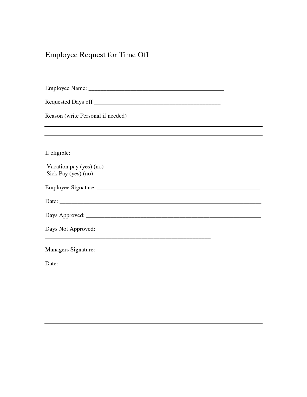 off request form template time letter sample and vacation forms ...