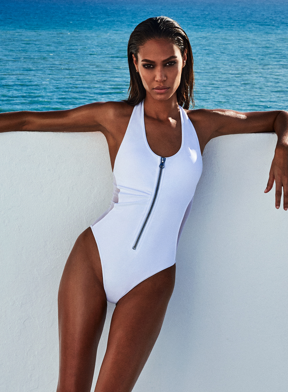 e41a3b9089 Joan Smalls Zip-up Front One Piece Swimsuit Size M In White By Smart And  Sexy