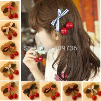 Retro red Cherry Bow Hair Clip