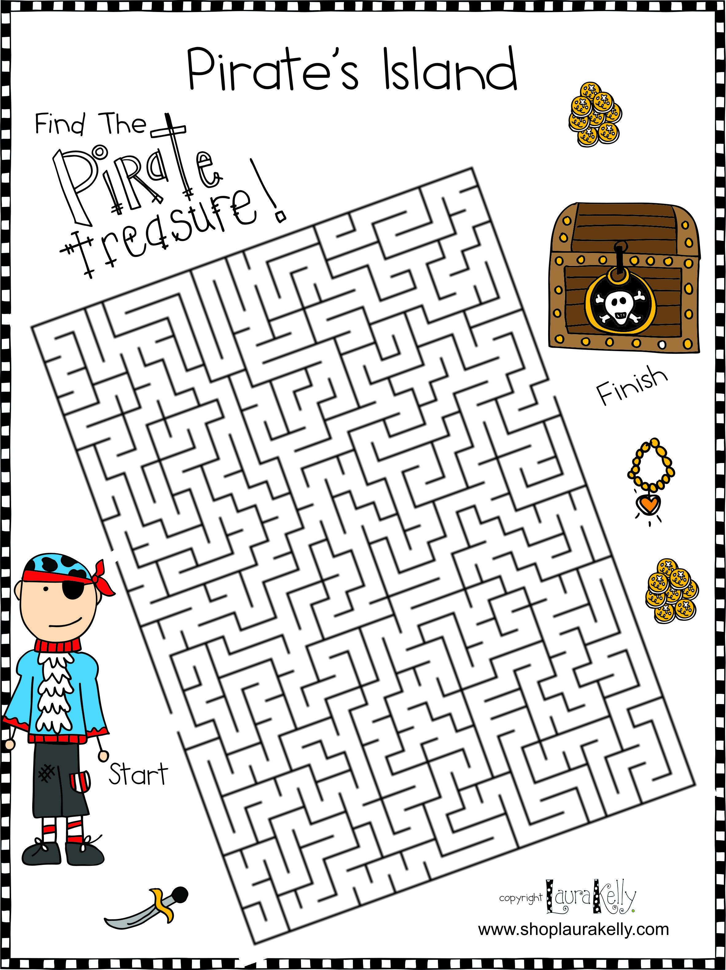 Pirate Maze Pirate Island Pirate Activities Pirate Maps [ 3155 x 2364 Pixel ]